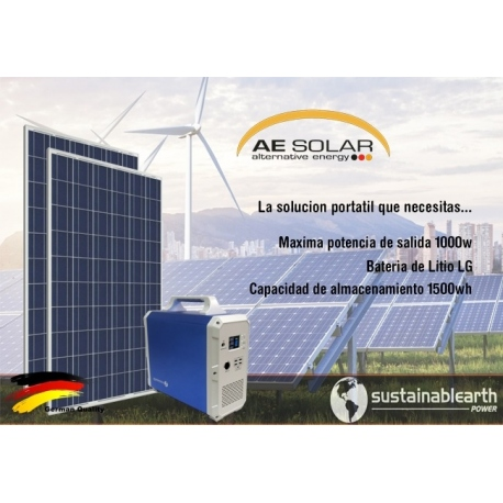 Kit Solar Portátil Peru 1500Wh ECO Uso: Refrigeradora Lg Smart Inverter, TV, DVD, Laptop, Carga Celular