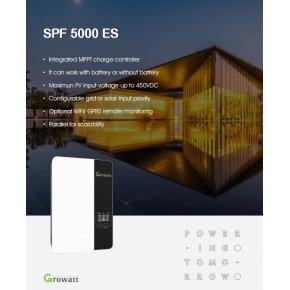 Inversor Growatt 48V 5000VA/5000W / 100A MPPT / Cargador 80A