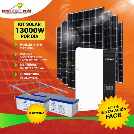 Kit solar Peru 13000Wdia Uso Diario: Refrigeradora, Lavadora, Microondas, Luz, TV, Laptop, Celular. ONDA PURA