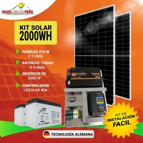 Kit solar Peru 2000W/dia Uso Diario: Luz, TV, DVD, Licuadora, Frigobar, Laptop, mini radio. Inversor ONDA PURA