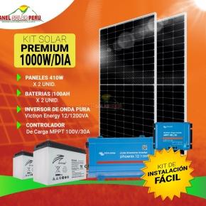 Kit solar Peru 1000W/dia Uso Diario Premium: Luz, TV, DVD, Licuadora, Laptop, mini radio. Inversor ONDA PURA