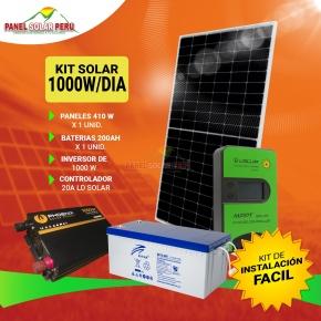 Kit solar Peru 1000W/dia Uso Diario ECONOMICO: Frigobar, Luz, TV, DVD, Licuadora, Laptop, mini radio. Inversor ONDA PURA