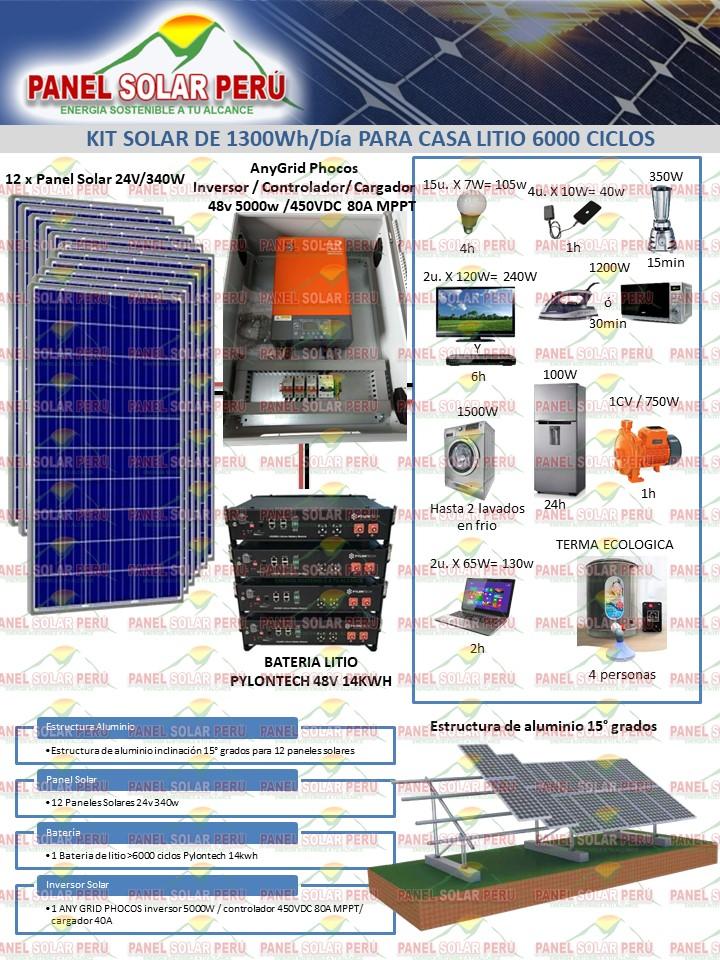 kit solar litio 13000whdia